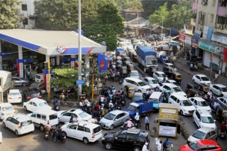 Rush at petrol pump