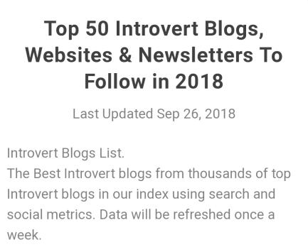 Top 50 Introvert Blogs by Feedspot