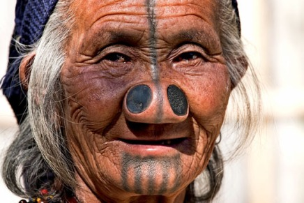 Nose plugs and tattoos – Apatani Tribe